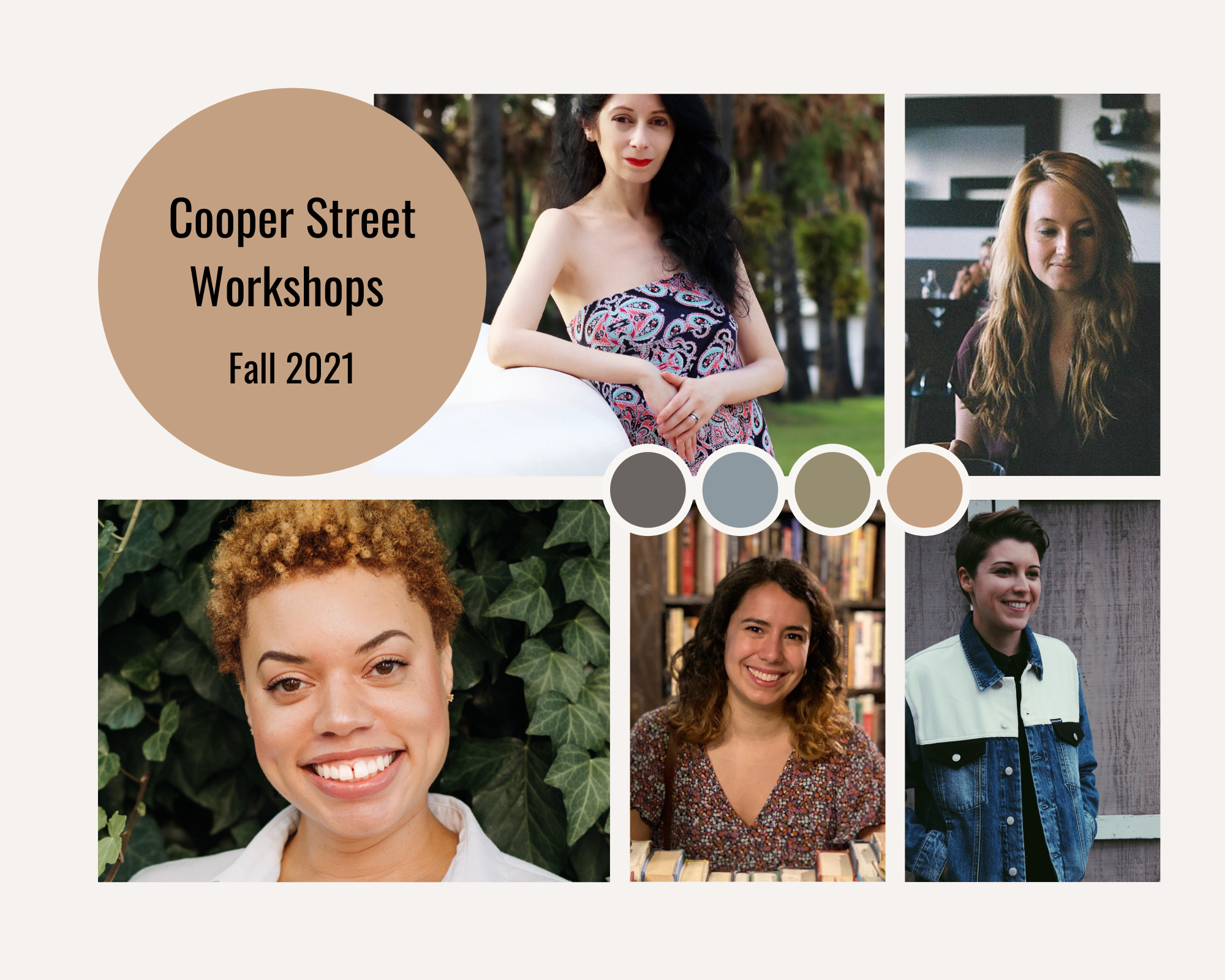 Cooper Street workshop announcement Fall 2021. Photo collage of five Cooper Street instructors.